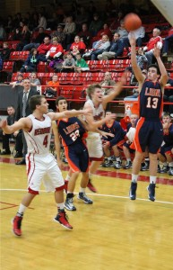 Carterville's Lucas Hunter takes the game-winning shot from the corner.