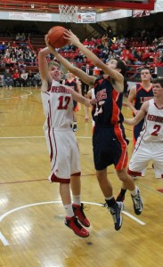 Christian Dunning shoots from the lane in the second quarter.