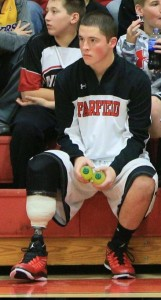 Dakota Young pictured on the bench during a Fairfield Mules game.