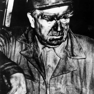 UMWA president John L. Lewis is pictured leaving the Orient 2 Mine the day after a massive explosion killed 119 miners.