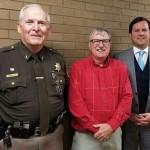 Jimmy Dean with Williamson County Sheriff Bennie Vick left, and States' Attorney Brandon Zanotti-right
