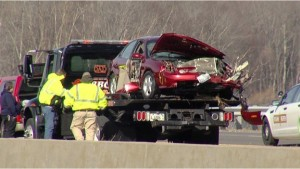 The 1999 Ford Taurus after the crash.  - (WSIL fi;e photo)