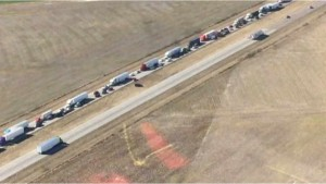 Arial picture of the tie up on East Bound route 64.  WSIL photo.