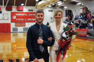 Wade Hutchens, LEFT, and Grace Pytlinski, RIGHT, were crowned the Rend Lake College 2017 Homecoming King and Queen during halftime of the Warriors Basketball game Wednesday night. The King and Queen are voted for by the RLC student body every spring. (ReAnne Palmer - RLC Media Services)