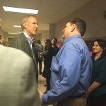 State Represenative Dave Severin with governor Bruce Rauner on a visit to Herrin Middle School
