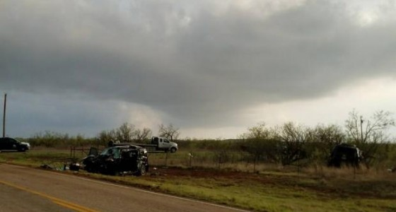 The scene of the wreck that killed three storm chasers near Lubbock, TX.  (Lubbock Avalanche Journal)