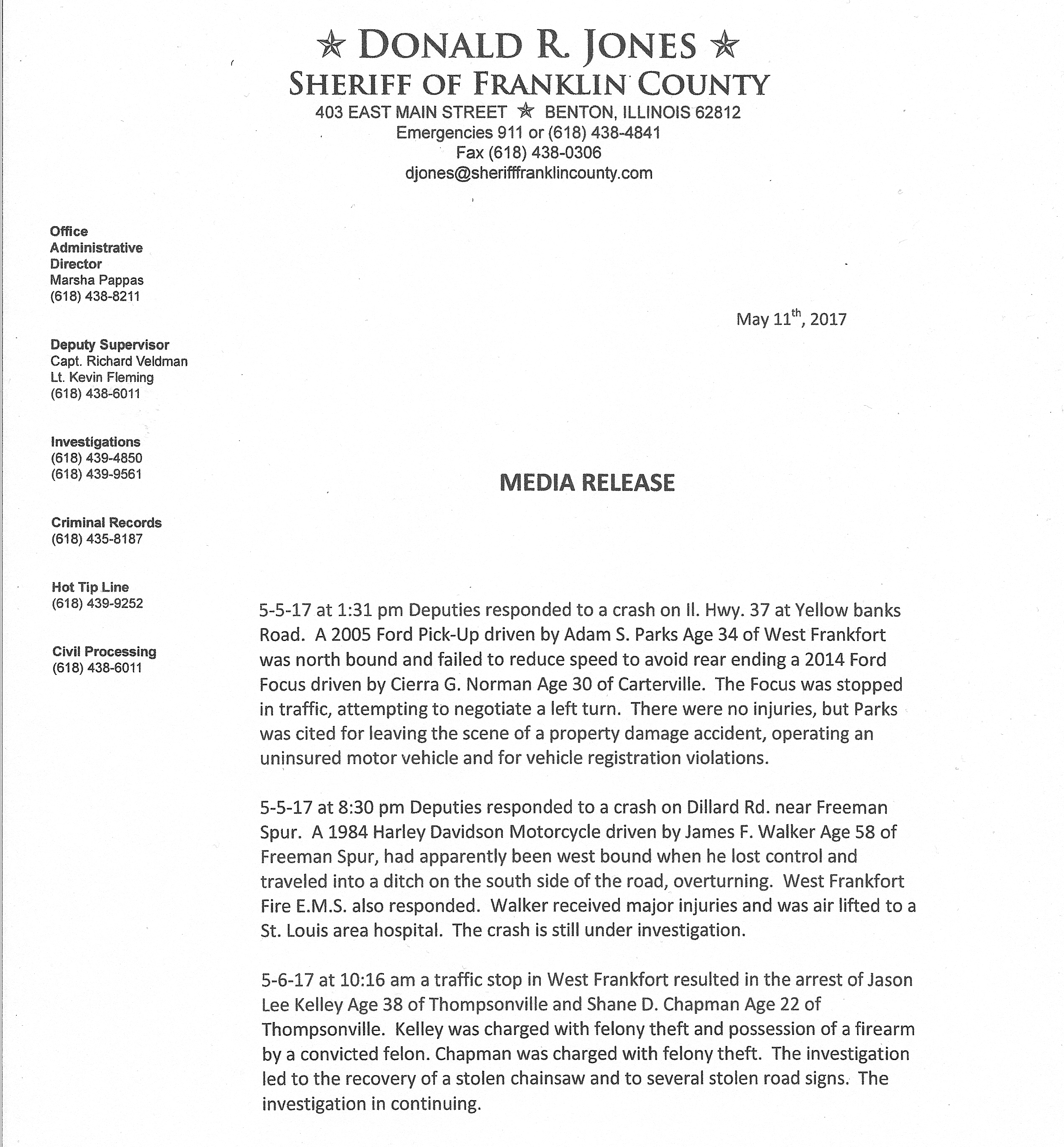 Franklin County Sheriff's office arrest record - Benton