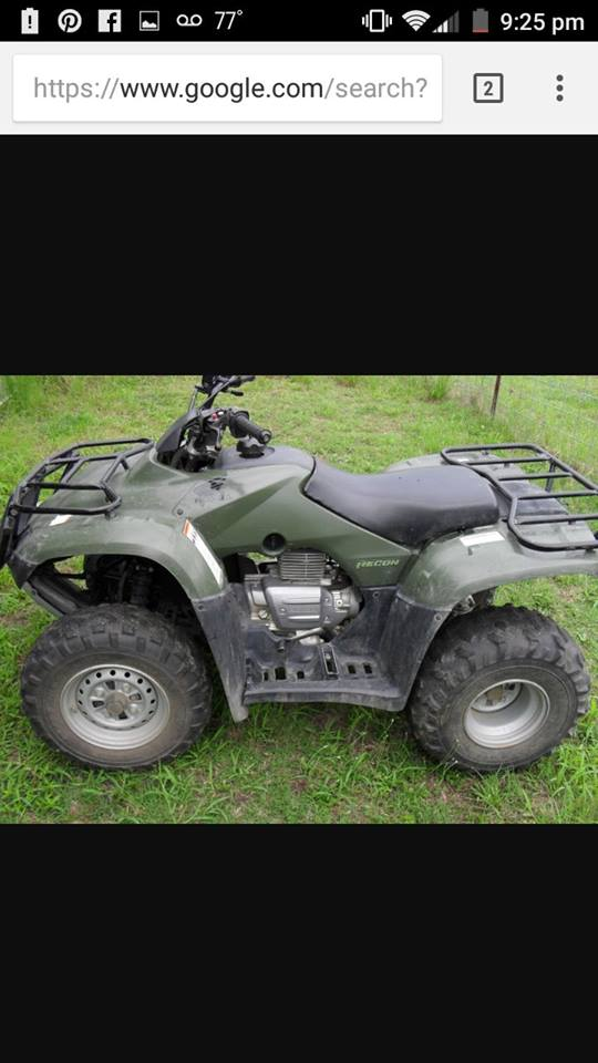 Wonderful This Evening, This Honda 250 Four Wheeler Was Stolen On Sandburg Road  Between West Frankfort And Zeigler, Near The Plumfield Area.